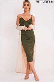 PrettyLittleThing Satin Panel Midi Dress
