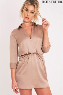 PrettyLittleThing Katalea Twist Front Silky Shirt Dress