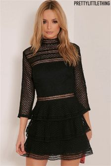 PrettyLittleThing Premium Lace Panel Tiered Mini Dress