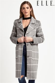 Elle Woolen Check Coat