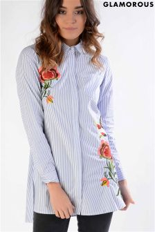 Glamorous Embroidered Shirt Dress