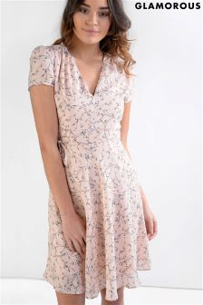 Glamorous Belted Printed Tea Dress