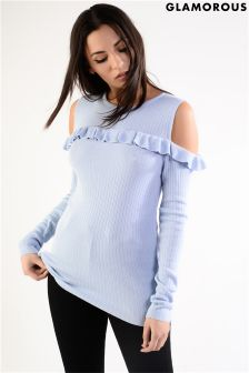 Glamorous Frill Cold Shoulder Fine Knit Jumper