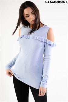 Glamorous Frill Cold Shoulder Fine Knit Jumper