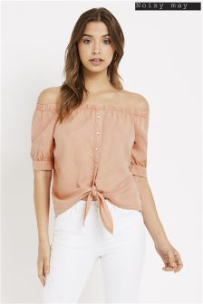 Noisy May Short Sleeve Tie Bardot Shirt