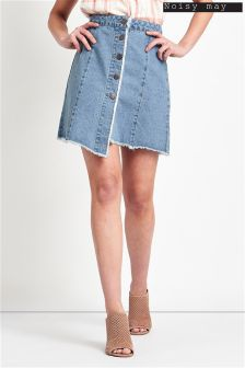 Noisy May Button Short Denim Skirt