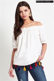 Noisy May Off The Shoulder Tassel Top