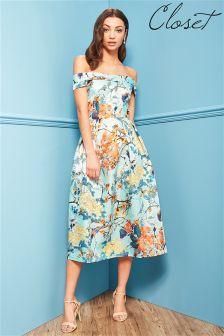 Closet Off The Shoulder Bardot Print Dress