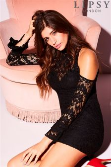 Lipsy Lace Cold Shoulder Bodycon Dress