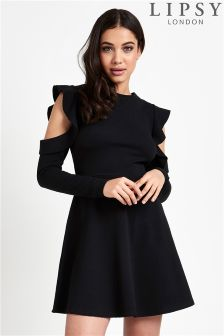 Lipsy Cold Shoulder Ruffle Skater Dress