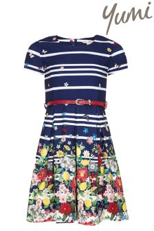 Yumi Girl Floral Stripe Belt Dress