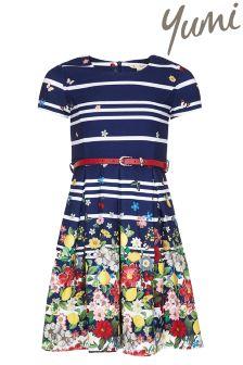 Yumi Girl Floral Stripe Belt Dress