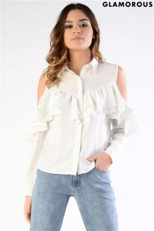 Glamorous Petite Printed Frill Cold Shoulder Blouse