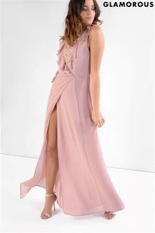Glamorous Petite Frill Front Lace Detail Maxi Dress