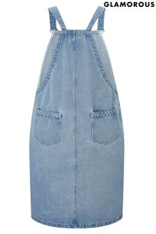 Glamorous Curve Denim Pinifore Dress
