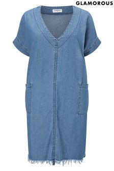 Glamorous Curve Denim Raw Hem Dress