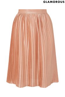 Glamorous Curve Metallic Pleated Skirt