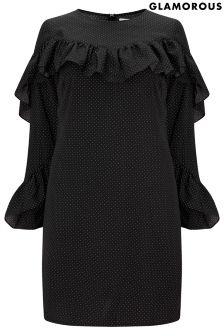 Glamorous Curve Printed Ruffle Dress
