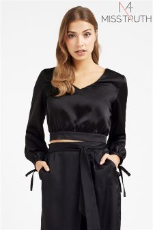 Miss Truth V-neck Satin Blouse