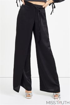 Miss Truth Satin Wide Leg Trousers