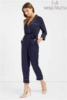 Miss Truth Satin Tie Waist Jumpsuit