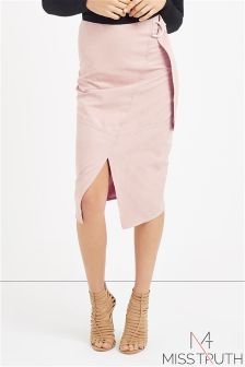 Miss Truth Split Front Midi Skirt