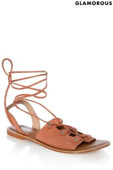 Glamorous Suede Lace-up Sandals