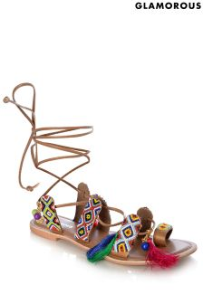 Glamorous Beaded Tassle Tie-up Sandals