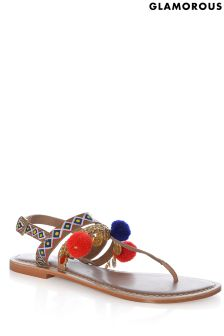 Glamorous Handpainted Leather Pom Trim Sandal