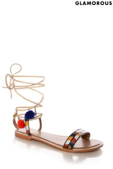 Glamorous Leather Lace-up Sandals