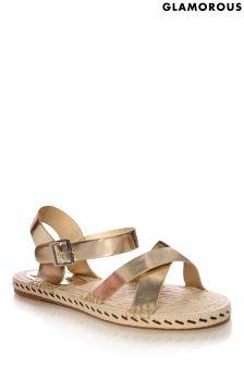 Glamorous Woven Sole Metallic Sandals