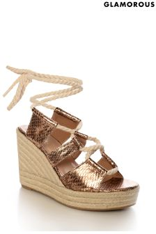 Glamorous Metallic Snake Lace-up Wedge Sandals