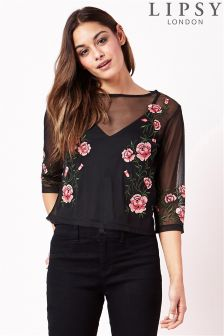 Lipsy Embroidered Mesh Top