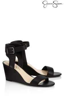 Jessiac Simpson Stacked Buckle Mid Wedge