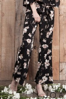 J.O.A Floral Print Wide Leg Trousers