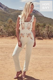 Hope & Ivy Embroidered Ruffle Jumpsuit