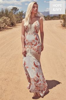 Hope & Ivy Floral Print Lace Maxi Dress
