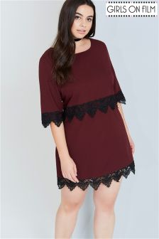 Girls On Film Curve Lace Hem Dress