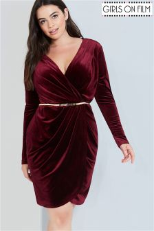 Girls On Film Curve Velvet Wrap Dress With Belt