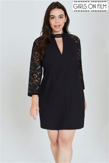 Girls On Film Curve Choker Detail Lace Dress