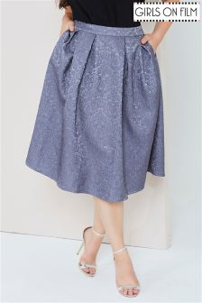 Girls On Film Jacquard Full Midi Skirt