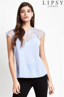 Lipsy Blue Lace Trim Top