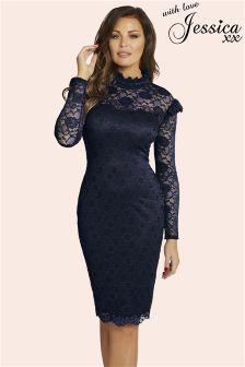Jessica Wright High Neck Lace Bodycon Dress