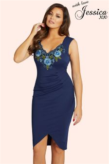 Jessica Wright Embroided V neck Bodycon Dress