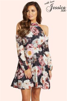 Jessica Wright Floral Cold Shoulder Skater Dress