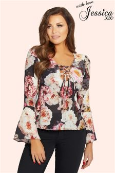 Jessica Wright Floral V neck Blouse