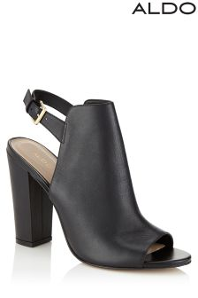 Aldo Block Heel Open Toe Ankle Boots