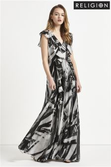 Religion V neck Print Maxi Dress