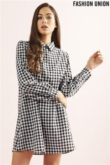 Fashion Union Check Shirt Dress