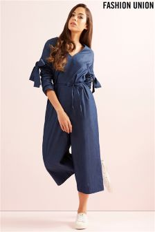 Fashion Union Bow Sleeve Jumpsuit